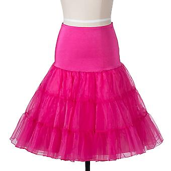 50s vintage Rockabily netto sottoveste gonna 26', colore rosa, grande/XL (16-22)