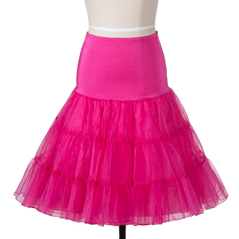 50s vintage Rockabily netto sottoveste gonna 26', colore rosa, grande/XL (16-22)