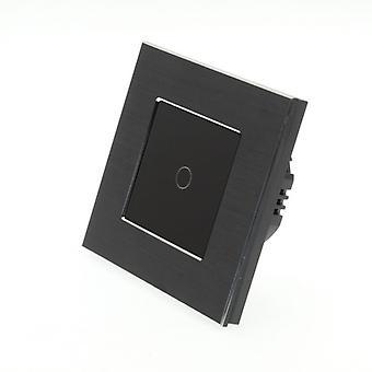 I LumoS Black Brushed Aluminium 1 Gang 1 Way Remote Touch LED Light Switch Black Insert