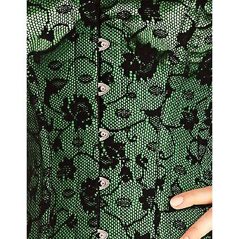 Mio Corset Flora Black and Green Satin Corset with Black Lace Overlay AIC-01-6