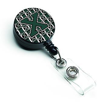 Litera X piłki nożnej zielony i biały bębnowa chowany odznaka