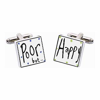 Poor But Happy Cufflinks by Sonia Spencer, in Presentation Gift Box. Hand painted