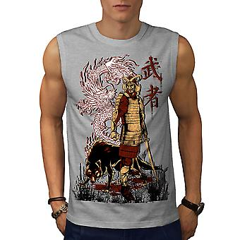 Japanin Dragon Wolf GreySleeveless t-paita | Wellcoda
