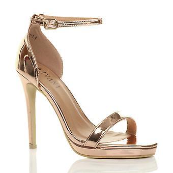 Ajvani womens hoge hak peep teen nauwelijks er enkel riem gesp sandalen