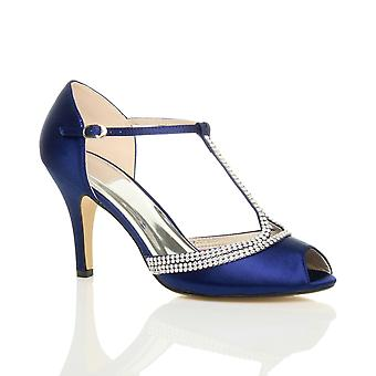 Ajvani kvinnors hög klack peep toe diamante t-bar bröllop bröllop kvällen prom sandaler skor