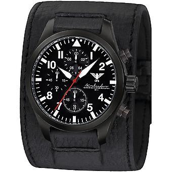 KHS Herrenuhr Airleader zwarte stalen chronograaf KHS. AIRBSC. LK