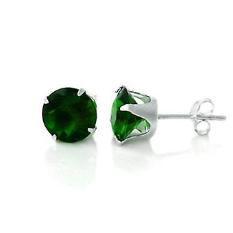 925 sterling silver Stud Earrings - round / peridot