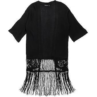 Brave Soul Damen/Damen Kimono lose lange Fransen Saum Strickjacke