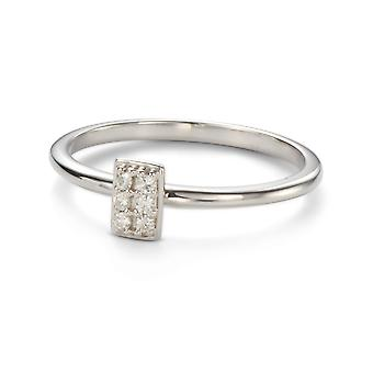 Forever Classic 1.4mm Moissanite Vertical Rectangle Pave Ring