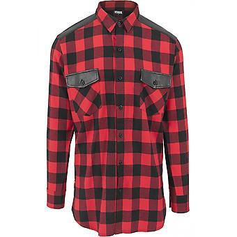 Flanella di Urban classics camicia laterale zip in pelle spalla