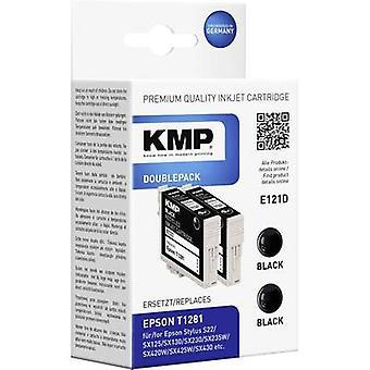 KMP Tinte ersetzt Epson T1281 kompatibel Pack von 2 schwarz E121D 1616,0021