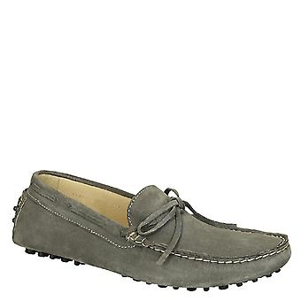 Men's driving moccasins in gray suede leather