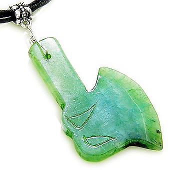 良い運と保護護符 Ax 明るいグリーン翡翠ネックレス
