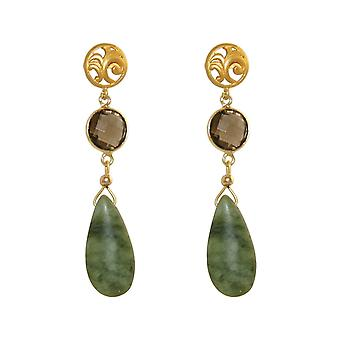 GEMSHINE earrings with jade and smoky quartz. Earrings in 925 silver plated.