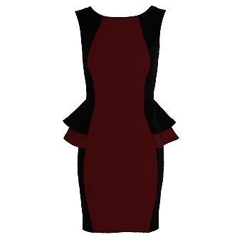Peplum falbanką sukienka Panie kontrast czarną stroną podwójne krótkie rozmiar