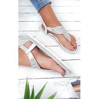 IKRUSH Womens Zania Diamante Impreziosito sandali t-bar