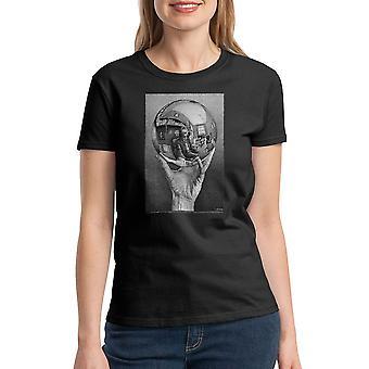 M.C. Escher Reflecting Sphere Women's Black T-shirt