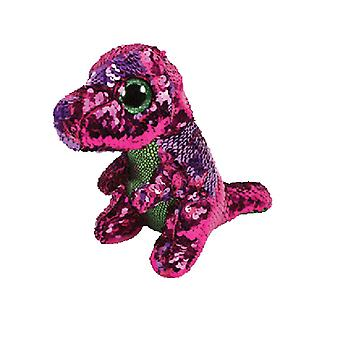 TY blätterbaren Stompy Pink/grün Pailletten Dinosaurier Beanie