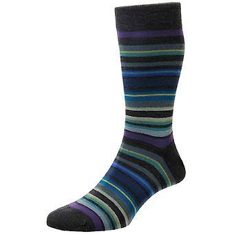 Cuáqueros de Pantherella todo rayas calcetines de lana Merino - gris/púrpura/azul oscuro