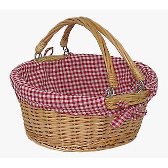 Maniglia girevole grande cestino di acquisto con Check rosso e bianco