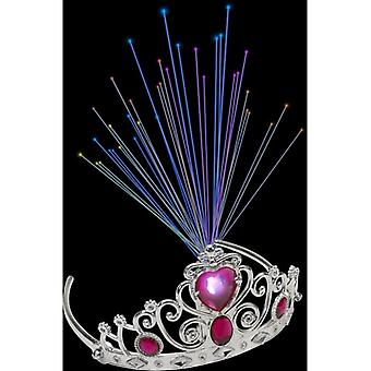 Smiffy's Light Up Fibre Optic Tiara vaaleanpunainen helmi