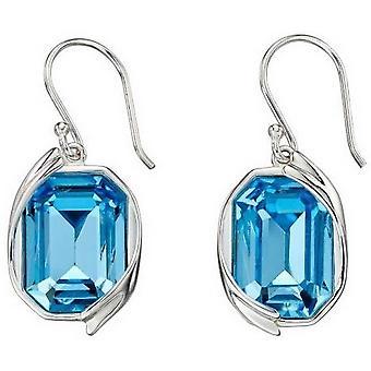 Elementen zilveren Swarovski lint Detail oorbellen - zilver/blauw