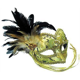 Gouden masker + gevlochten oog patroon.