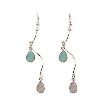 Gemshine oorbellen Rose Quartz groene Chalcedoon edelstenen 925 zilver of verguld