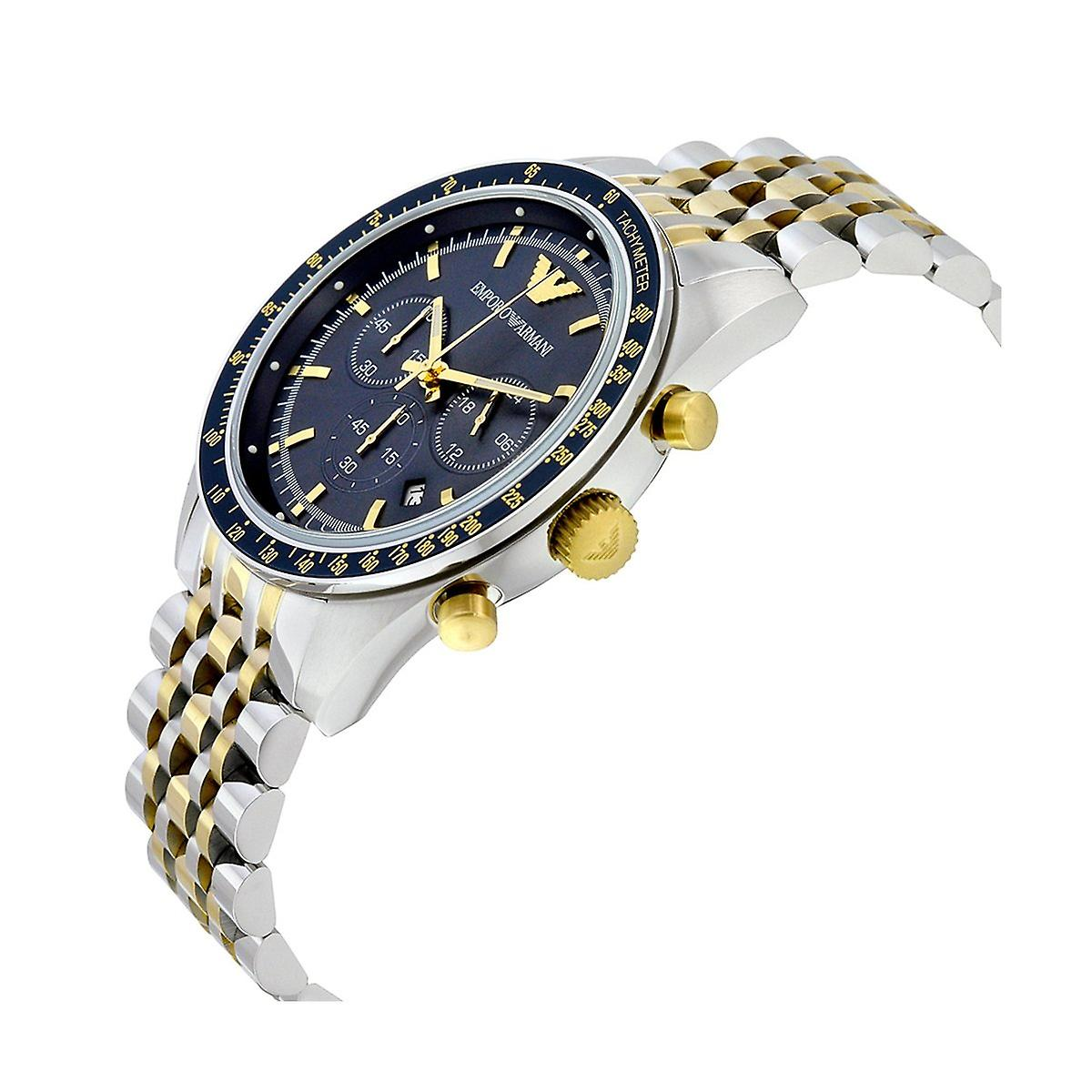 Armani watches ar6088 blue dial & two tone stainless steel chronograph