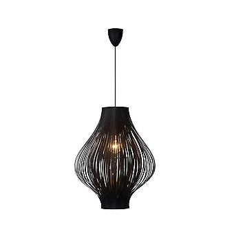 Lucide Poli Retro Round PVC Black Pendant Light