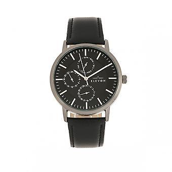 Elevon Lear Leather-Band Watch w/Day/Date - Black/Gunmetal