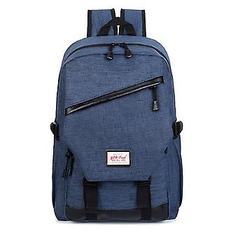 Spacious backpack with faux leather details-dark blue