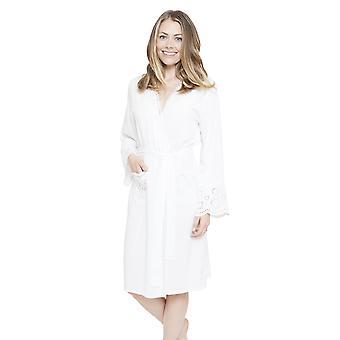 Cyberjammies 4144 kvinners Ella White slåbrok Loungewear bad kappe Kimono