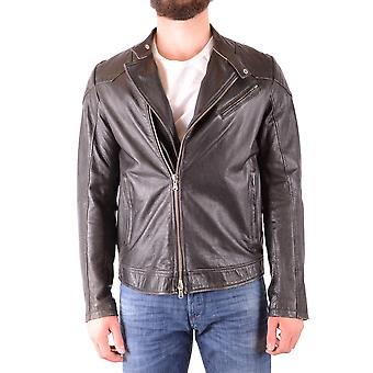 Daniele Alessandrini Ezbc107210 Men's Black Leather Outerwear Jacket