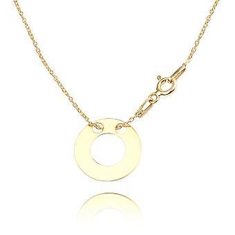 اه! المجوهرات الذهب على الجنيه الاسترليني مزدوجة دائرة مفتوحة قلادة