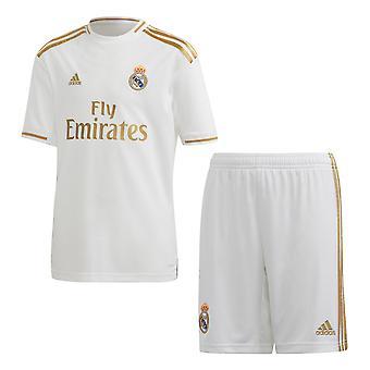 阿迪达斯皇家马德里 2019/20 儿童足球家庭套件设置白色/黄金