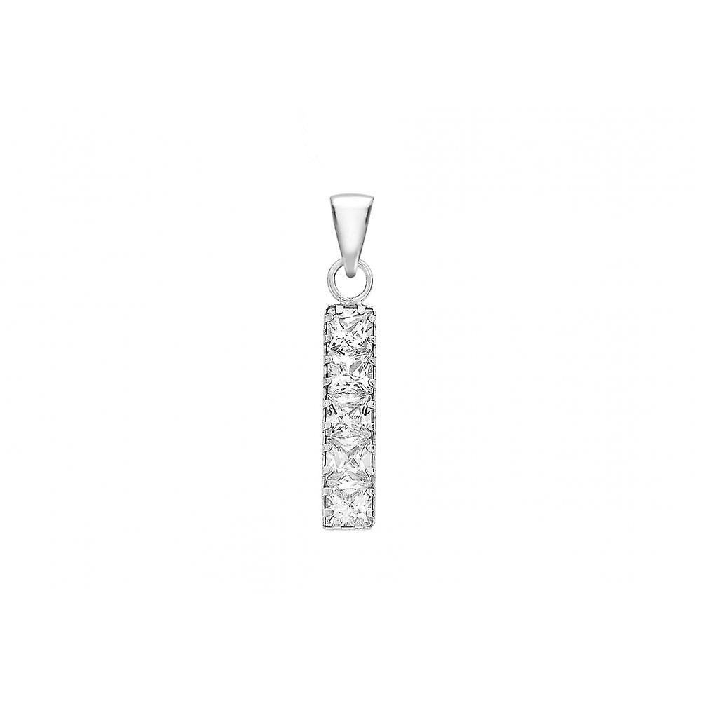 Eternity 9ct White Gold Square Cubic Zirconia Drop Pendant And 18'' Curb Chain