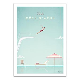 Kunst-poster-bezoek Cote d'Azur-Henry Rivers 70 x 100 cm