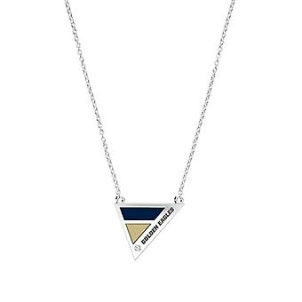 Oral Roberts University Engraved Sterling Silver Diamond Geometric Necklace In Blue & Tan