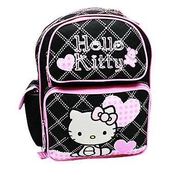 Backpack - Hello Kitty - Black Heart Checker (Large School Bag) New 81579