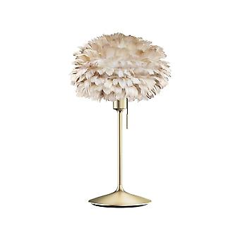 Umage Eos Table Lamp - Light Brown Feather Eos Mini/Brushed Brass Stand