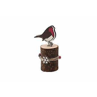 Deck The Halls Robin On Yule Log Ornament