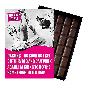 Funny New Baby Girl Birth Gift For Newborn Mum Boxed Chocolate Greeting Card Present CDL140