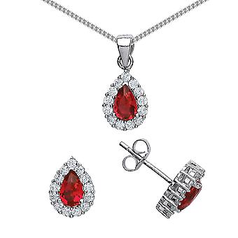 Jewelco London Rhodium Plated Silver Red and White Pear and Round CZ Tears of Joy Earrings Necklace Set 18 inch