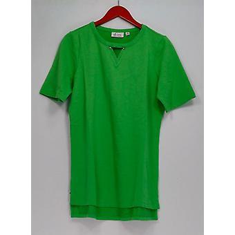 Denim & Co. Top Aktive Französisch Terry Pullover Sommer grün A252690