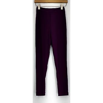 Bob Mackie Pull On Elastic Waist Slimming Pants Purple A230974