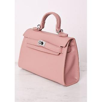 Faux Leather Mini Tote Bag Pink