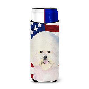 Bandera Americana de EE.UU. con aisladores De bebidas Ultra Bichon Frise para latas delgadas SS40