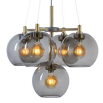 Belid - Gloria Crown LED hanger licht Brass, gerookt glas afwerking 12991073