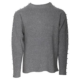 Passioni Grey Turtle Neck Jumper With Stud Detail